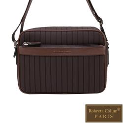 Roberta Colum - 倫敦時尚紳士休閒配牛皮橫式側背包-咖