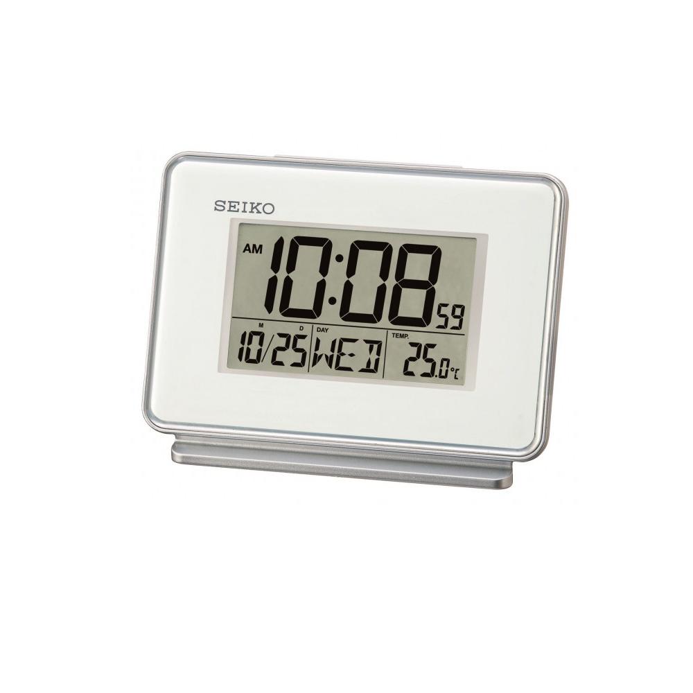 SEIKO 雙鬧鐘 溫度/日期顯示 電子鍾(QHL068W)-白/9x12.7cm