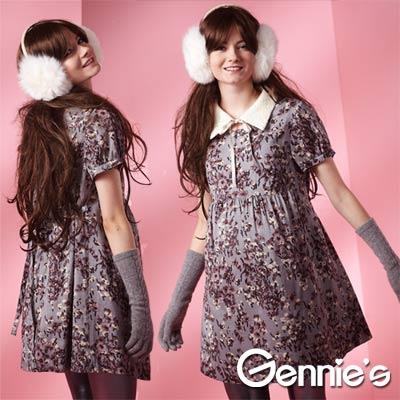 【Gennie's奇妮】花卉典雅長版秋冬孕婦上衣(G3222)
