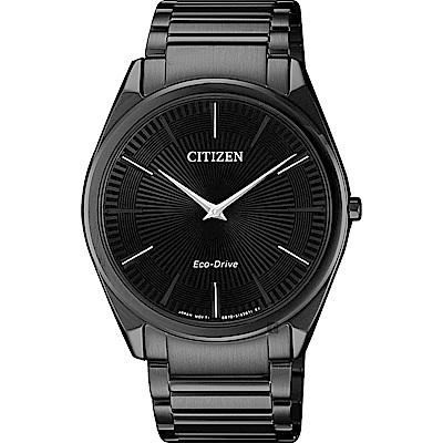 CITIZEN星辰Eco-Drive 紳士薄型手錶-黑/38mm AR3079-85E