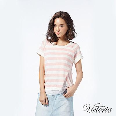 Victoria 假二件不規則變化短袖線衫-女-淺粉白條