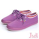 JMS-俏皮馬卡龍色系休閒帆布鞋-紫色