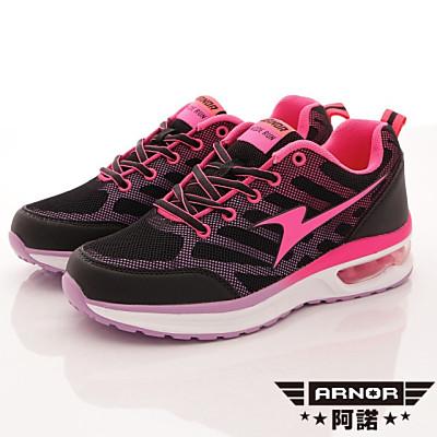 ARNOR-輕量氣墊跑鞋款-SE2153黑桃紅(女段)