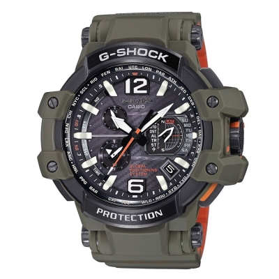 G-SHOCK濃厚軍事風格飛行夾克概念GPS電波錶GPW-1000KH-3)橄欖綠56mm