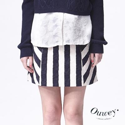 OUWEY歐薇-精緻條紋壓花A字裙