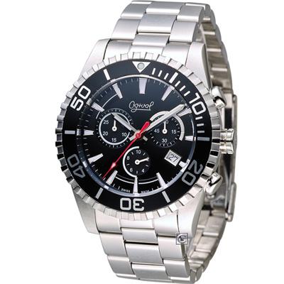 Ogival 愛其華 先鋒極速計時腕錶(3985-3GS)黑/44mm