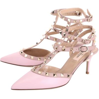 VALENTINO ROCKSTUD 鉚釘繫帶尖頭高跟鞋(粉紅)