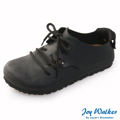 Joy Walker 休閒撞色拼接綁帶包鞋*黑色