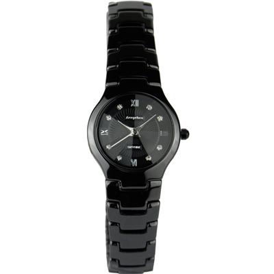 Arseprince 城市晶鑽鏡面切割女錶-黑銀/24mm