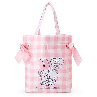 Sanrio 美樂蒂甜蜜利茲姆系列緞帶裝飾防潑水縮口手提袋