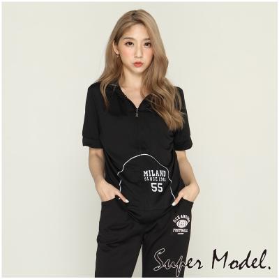 休閒短袖運動外套-黑色(F可選)    名模衣櫃