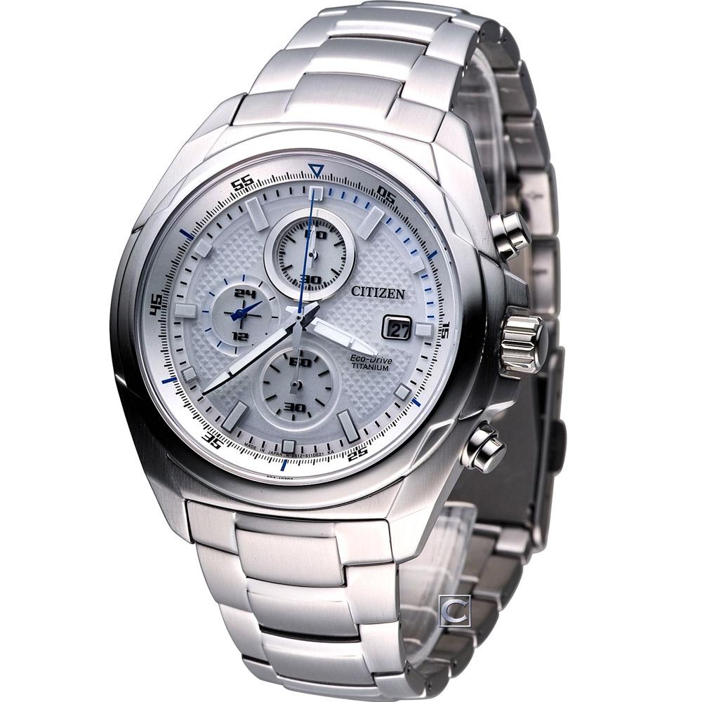 CITIZEN Eco-Drive 刀鋒時刻計時腕錶(CA0190-56B)-白/43mm