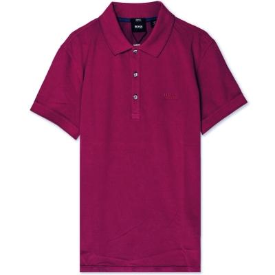 HUGO BOSS 黑標素面POLO男衫(紫紅)