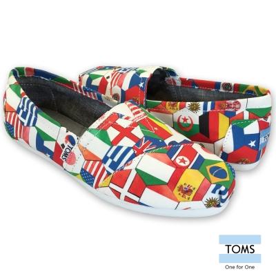 TOMS 世界國旗帆布懶人鞋-女款(白)