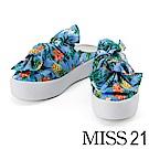 拖鞋 MISS 21 熱帶南洋風格蝴蝶結厚底拖鞋-藍