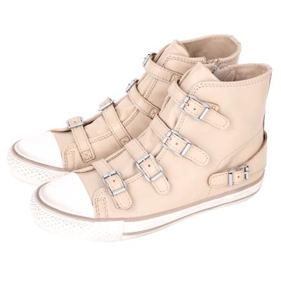 ASH VIRGIN 經典羊皮釦帶高筒休閒鞋(淺駝色)