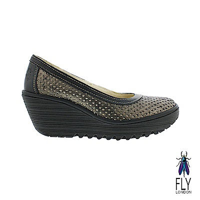 Fly London(女) 小心翼翼 牛皮網眼平高底楔型鞋- 鐵灰