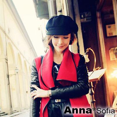 AnnaSofia 單色呢絨 棉質貝蕾帽(酷黑系)