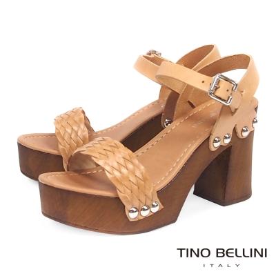 Tino Bellini 義大利進口自然況味編織釘釦粗跟涼鞋 棕