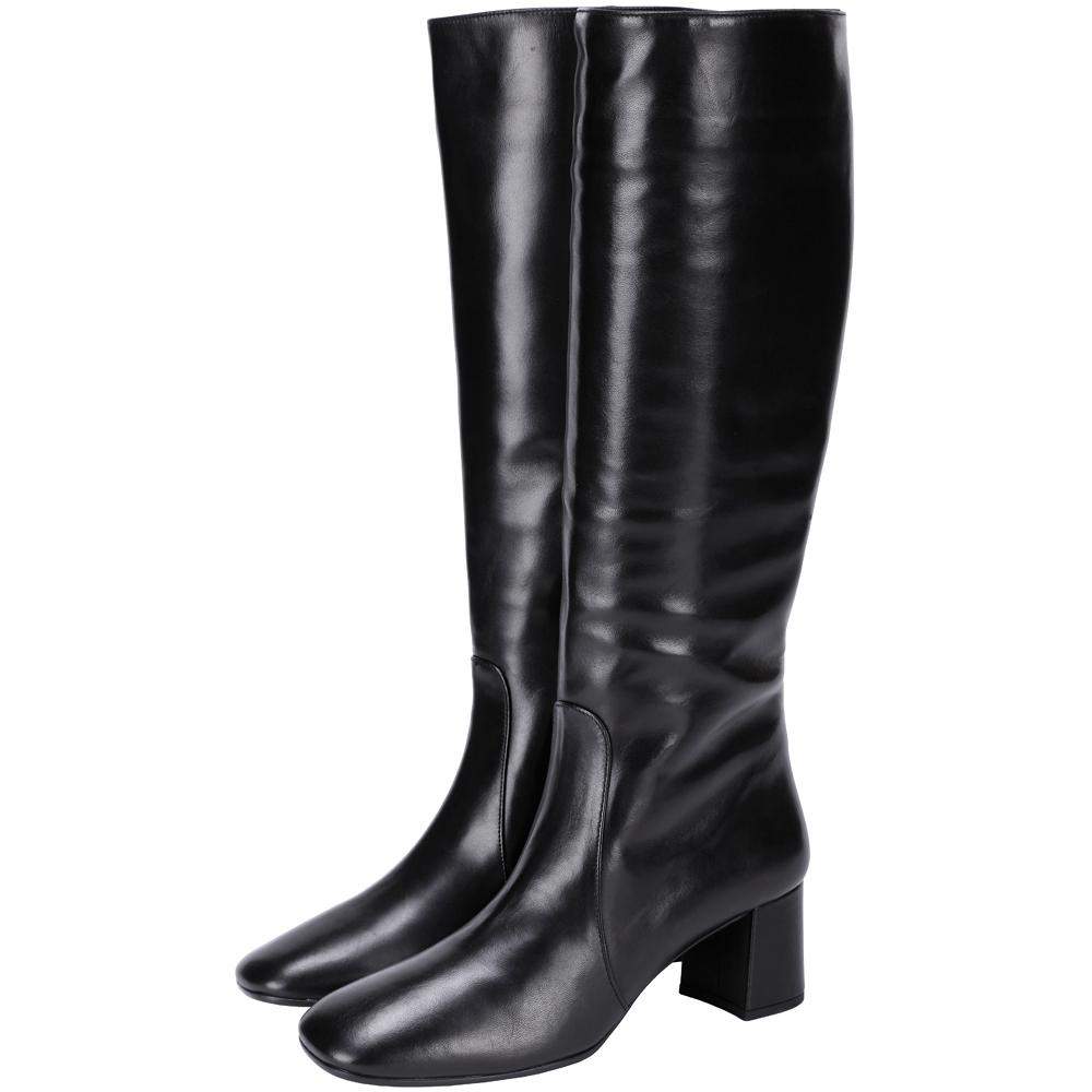 PRADA 小羊皮素面粗跟長靴(黑色)