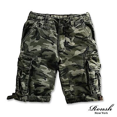 ROUSH (迷彩)黑色皮標高磅數雙口袋水洗短褲(5色)