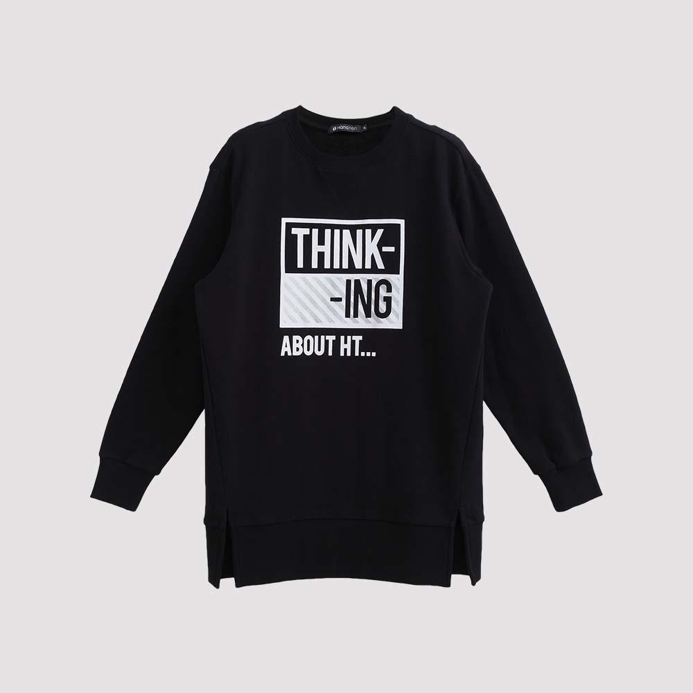Hang Ten - 女裝 - THINKING斜紋圖章大學T - 黑 product image 1