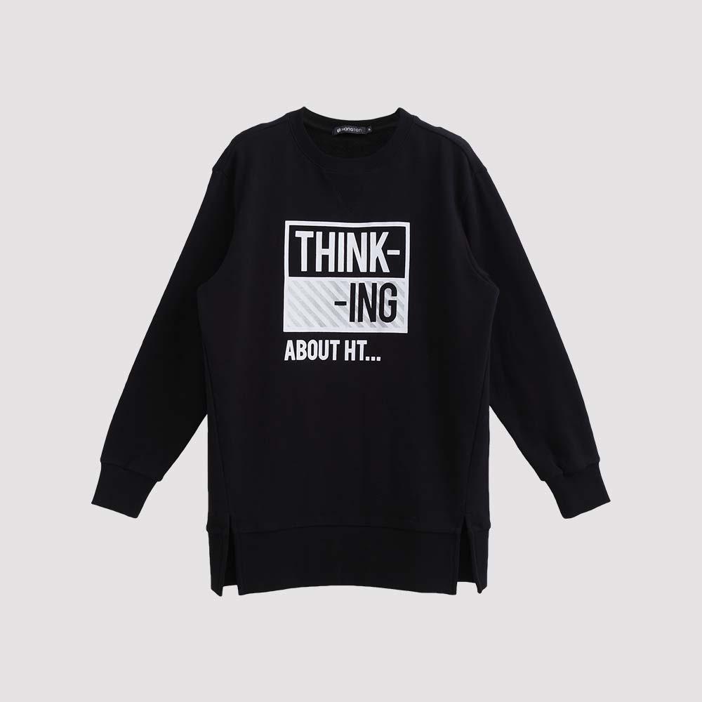 Hang Ten - 女裝 - THINKING斜紋圖章大學T - 黑