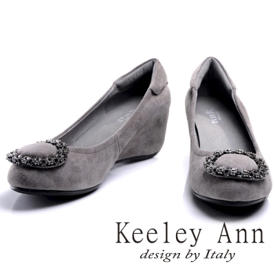 Keeley Ann 華麗鑽飾圓型釦環內增高全真皮楔形鞋(灰色-Ann)