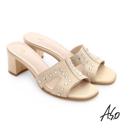 A.S.O 星光注目 工字拼接水鑽涼拖鞋 金色