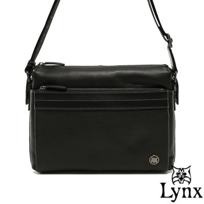Lynx - 山貓真皮經典款極品型男橫式斜背包(大)-共<b>2</b>色