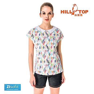 【hilltop山頂鳥】女款吸濕排汗彈性POLO衫S14FF0-晨灰印花