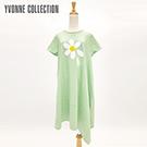 YVONNE小白花細絨短袖洋裝- 灰綠