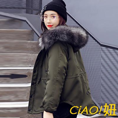 內抽繩腰連帽燕尾羽絨棉外套 (共三色)-CIAO妞