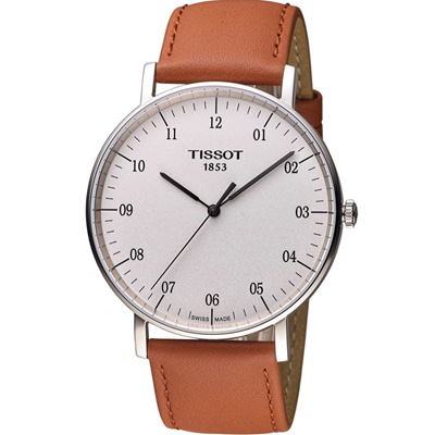 TISSOT 天梭 Everytime 經典時尚腕錶-白x咖啡/42mm
