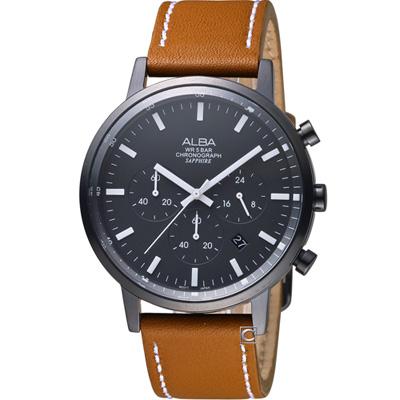 ALBA 雅柏 藝術美學時尚腕錶(AT 3 D 37 X 1 )黑x咖啡/ 42 mm