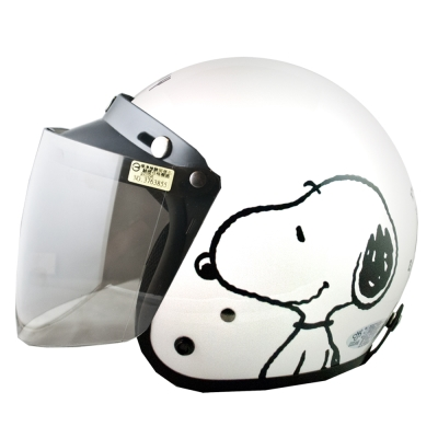 史奴比SNOOPY4/3罩安全帽 亮白 (大帽圍 57~60cm含贈送的長鏡片)