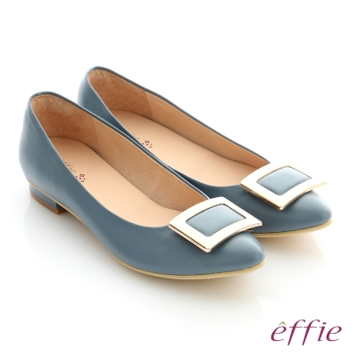effie 舒適通勤 方型飾釦全真羊皮尖頭低跟鞋 淺藍色