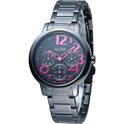 ALBA 玩美時尚全日曆女錶-IP黑(AP6039X1)/36mm 保固二年