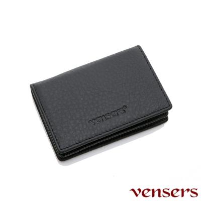 vensers 小牛皮潮流個性皮夾~(NB802701黑色名片夾)