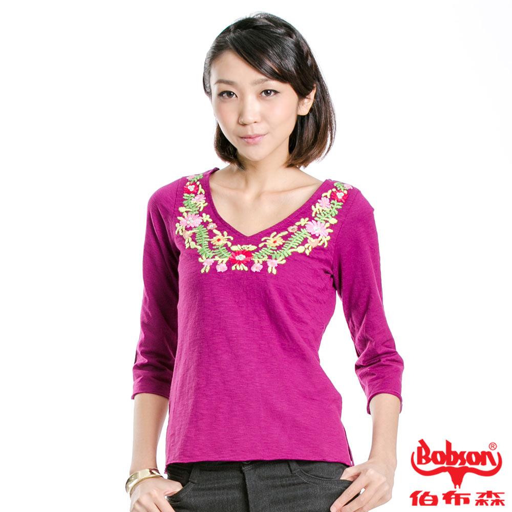 【BOBSON】女款刺繡亮片花樣七分袖上衣(紫紅61)