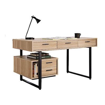 品家居 吉爾5尺原木紋多功能電腦桌/書桌-150x60x76cm免組