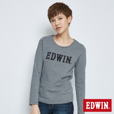 EDWIN 經典千鳥紋長袖T恤-女-黑色