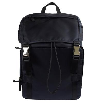 PRADA 經典三角LOGO尼龍帆布硬式束口後背包.深藍