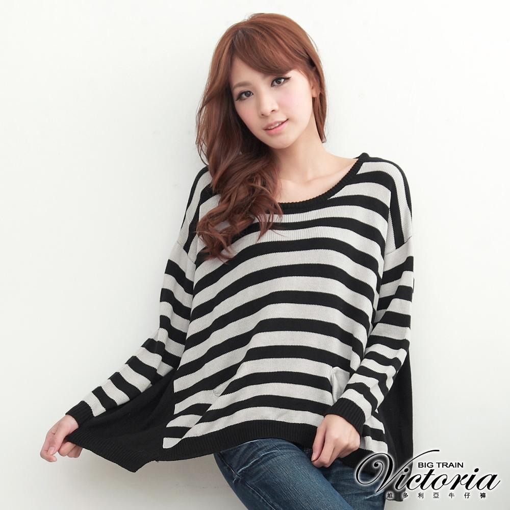 Victoria 寬版顯瘦條紋針織衫-女-黑色