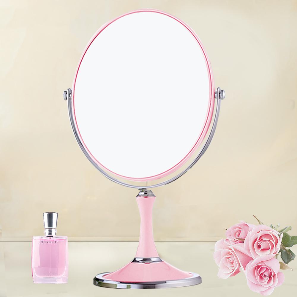 幸福揚邑 8吋超大時尚化妝放大雙面鏡/桌鏡-粉紅