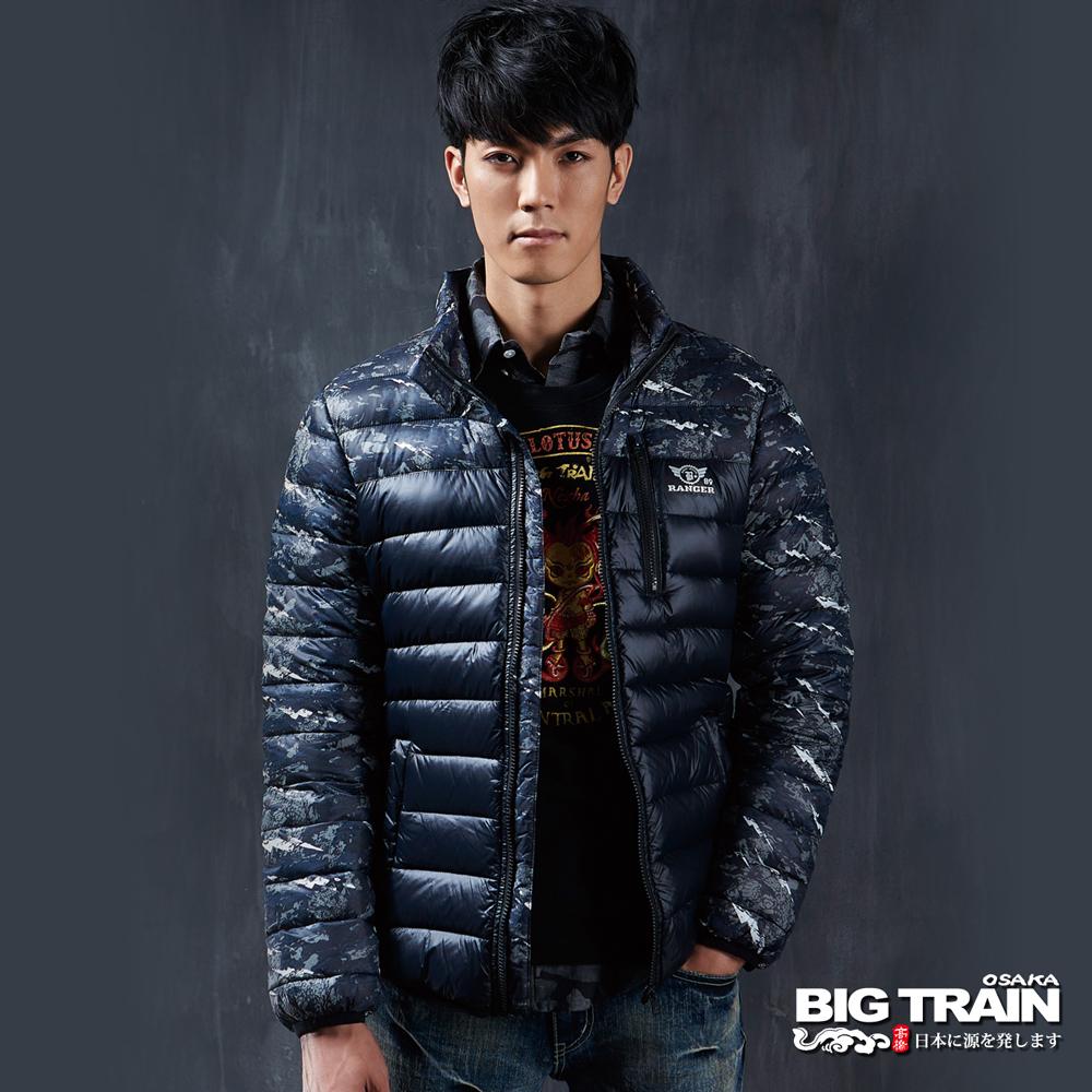 BIG TRAIN 超輕量龍紋羽絨外套-男-深藍