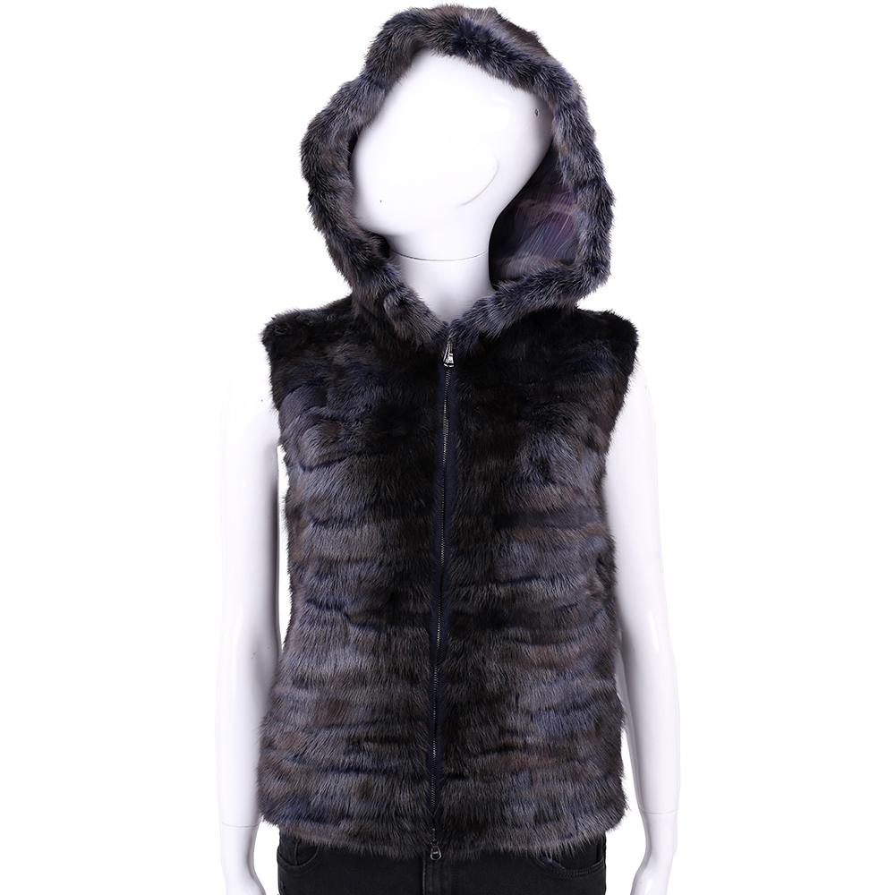 GRANDI furs 深藍/咖啡色毛草連帽背心 @ Y!購物