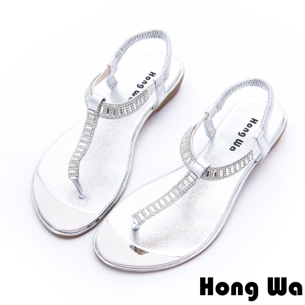 Hong Wa - 網美時尚3D水鑽貼飾休閒涼鞋 - 銀