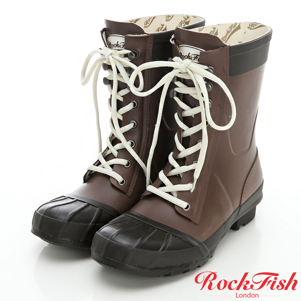 ROCKFISH 中性帥氣風短筒綁帶雨靴 摩登系列 摩卡咖