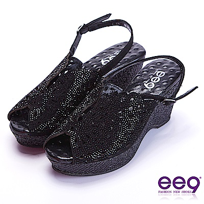 ee9 極致美學鐳射鏤空露趾楔形跟涼鞋 黑色